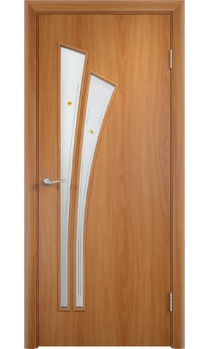 Двери Верда С-07 Миланский орех Стекло Сатинато с фьюзенгом