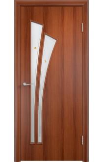 Двери Верда С-07 Итальянский орех Стекло Сатинато с фьюзингом