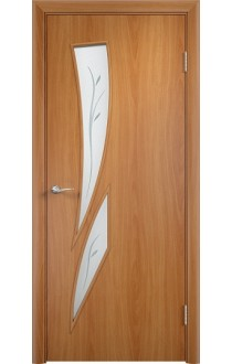 Двери Верда С-02 Миланский орех Стекло Сатинато с фьюзингом