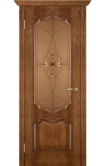 Двери Вист Премьера Каштан Стекло бронза с фацетами