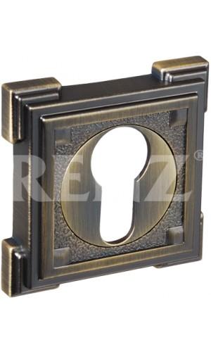 Накладка на цилиндр квадратная Renz ET 19 Античная бронза