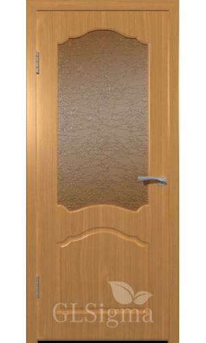 Двери ВФД Сигма 32 Миланский орех стекло Альфа дельта-бронза рифлен