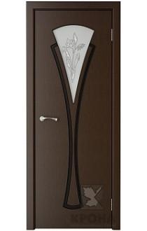 Дверь Крона Вита Венге стекло матовое с рисунком