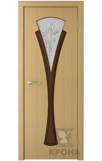 Дверь Крона Вита Дуб стекло матовое с рисунком