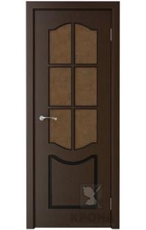 Дверь Крона Классик Венге стекло дельта-бронза