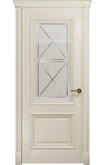 Двери Арт Деко Аттика-1 Аква Стекло Сатинат с гравировкой