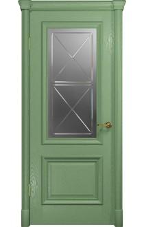 Двери Арт Деко Аттика-1 Фисташка Стекло Сатинат с гравировкой