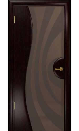 Двери Арт Деко Ветра 1 Венге Стекло бронза с рисунком