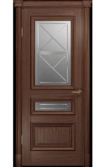 Двери Арт Деко Аттика 2-2 Американский орех Стекло Гравировка