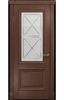 Двери Арт Деко Аттика-1 Американский орех Стекло Сатинат с гравировкой
