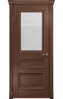 Двери Арт Деко Аттика 2-1 Американский орех Стекло Гравировка