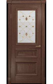 Двери Арт Деко Аттика 2-1 Американский орех Витраж Калипсо