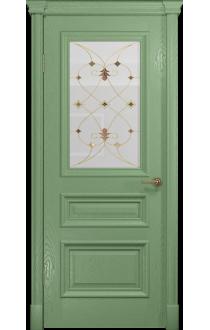 Двери Арт Деко Аттика 2-1 Фисташка Витраж Калипсо